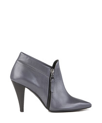 Grey leather pointed ankle boots
