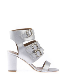 Silver leather block heel buckle sandals