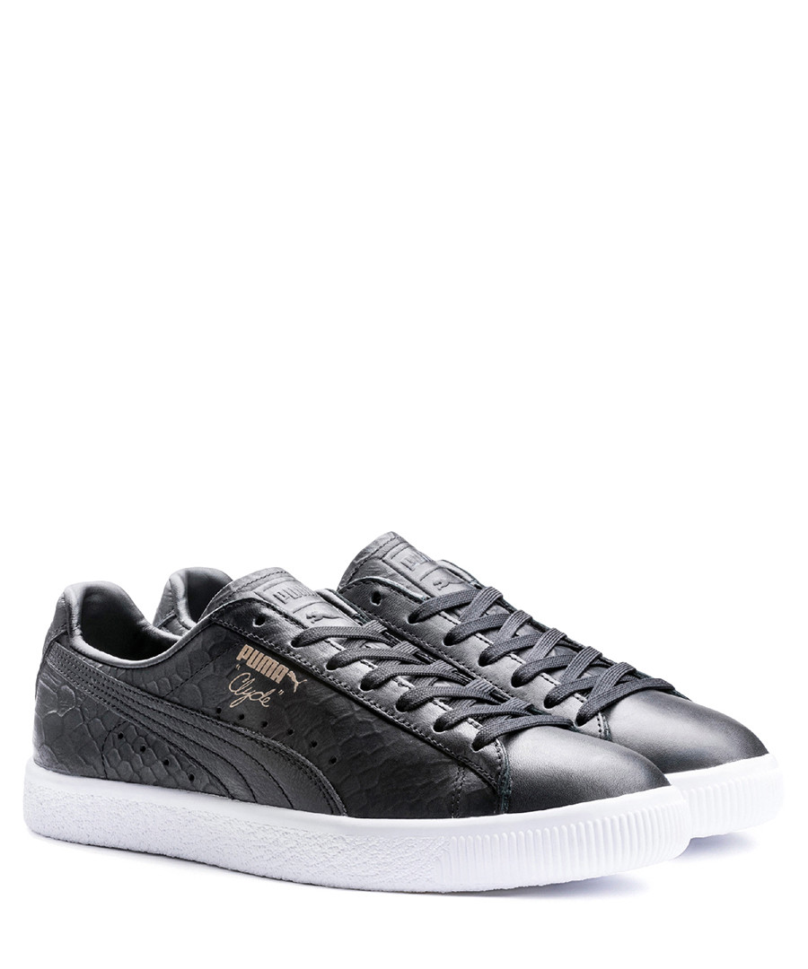 timeless design f6abf 77168 Discount Clyde black leather embossed sneakers | SECRETSALES