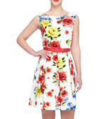 Ivory & red floral pleated skater dress