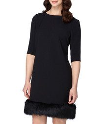 Black faux fur trim quarter sleeve dress