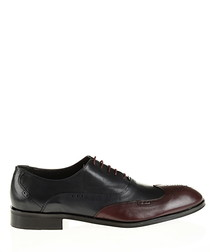 Claret red & blue leather brogues