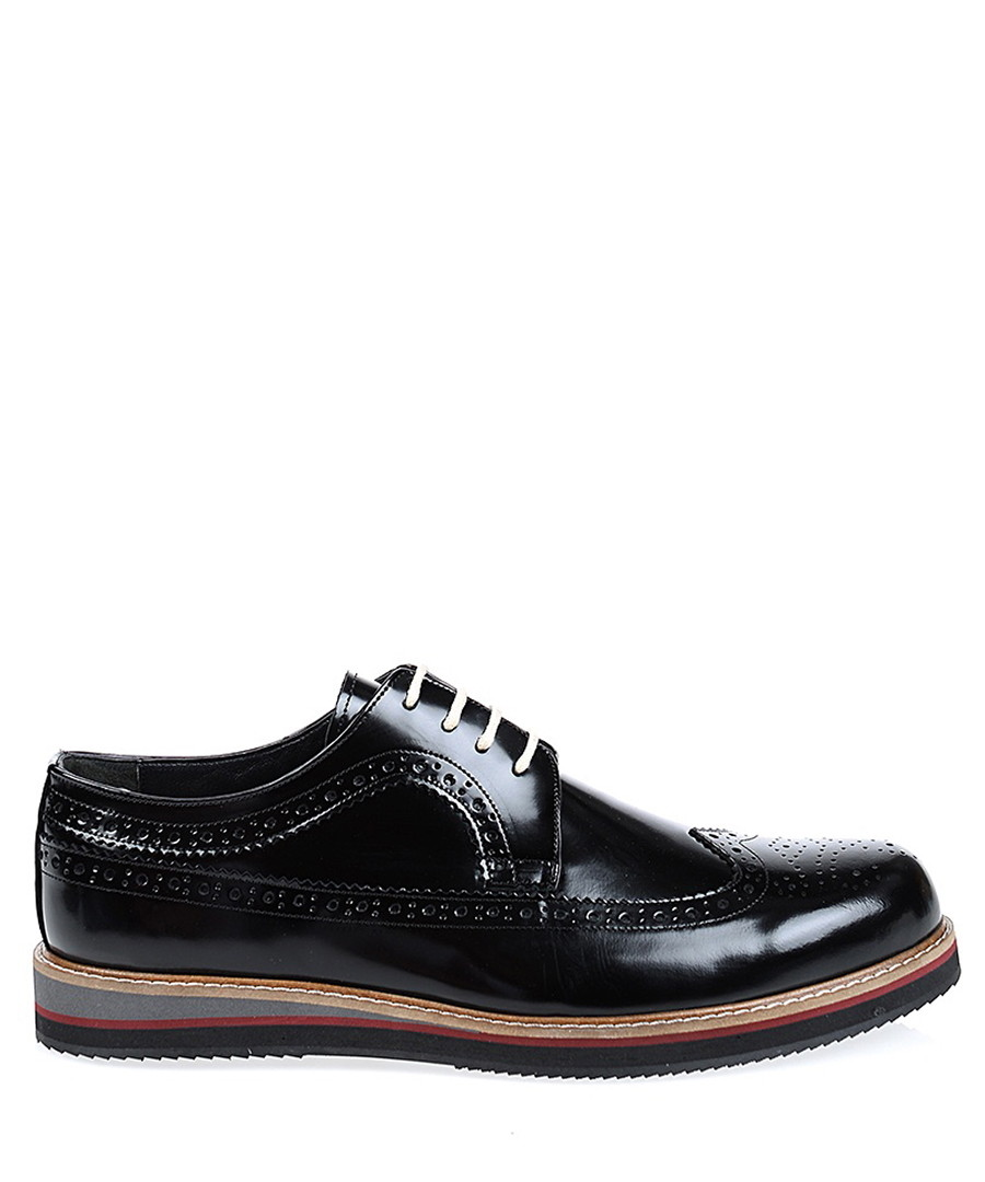 Black leather wingtip stacked brogues Sale - Baqietto