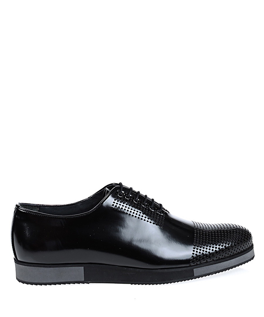 Black leather perforated Oxford shoes Sale - Baqietto