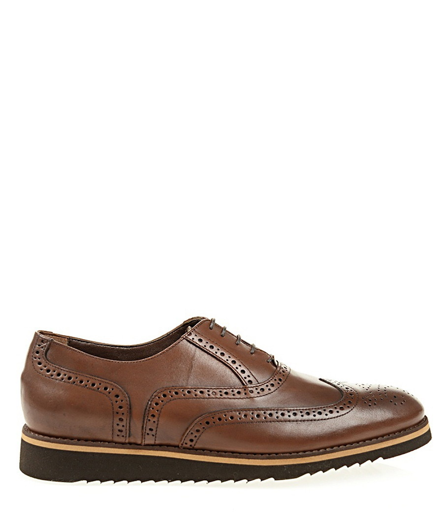 Coffee leather wingtip stacked brogues Sale - Baqietto