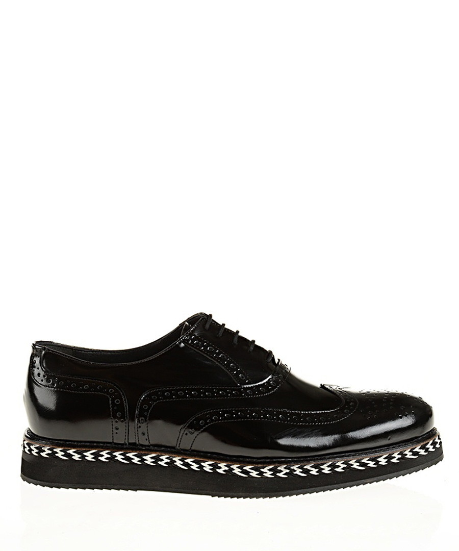 Black leather shiny stacked brogues Sale - Baqietto