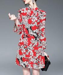 Red silk floral high neck dress