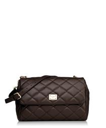 Brown leather quilted shoulder bag