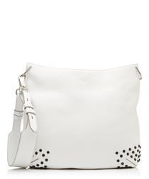 Gommino white leather studded hobo bag