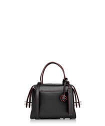 Twi black & red leather bowler bag