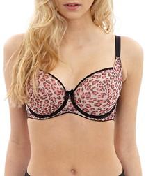 Della pink leopard print balconette bra