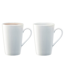 2pc Dine white ceramic latte mug set