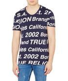 Navy pure cotton slogan T-shirt