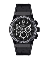 Noblesse Lady black leather watch