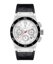 Noblesse black moc-croc leather watch