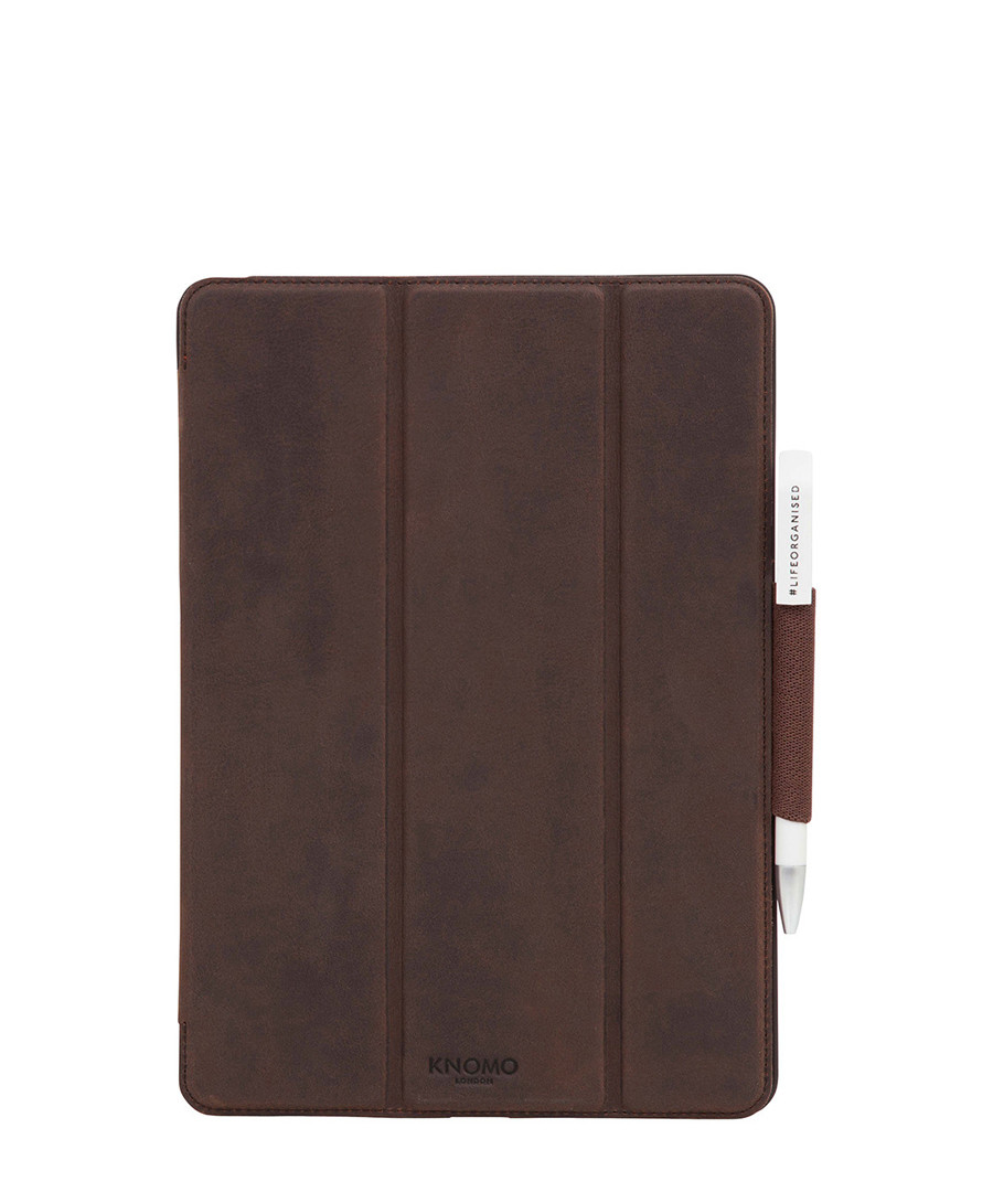 Classic brown leather iPad Pro folio Sale - knomo