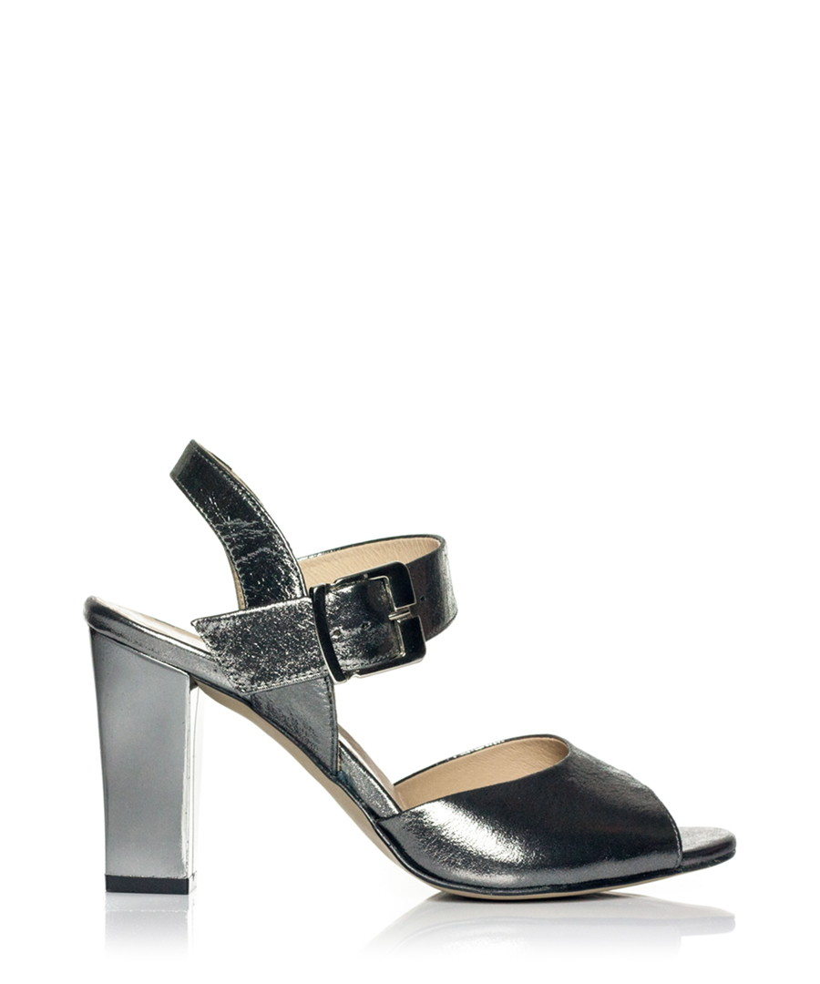 869204bac1eb96 Black leather metallic strappy sandals Sale - Markese