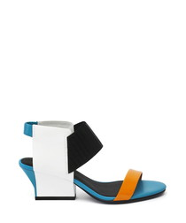 Blue & white leather blocked sandals