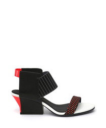Red & black leather blocked sandals