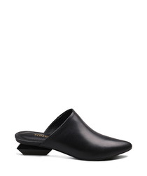 Black leather heeled mules