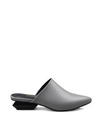 Grey leather heeled mules