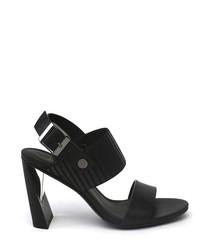 Black & silver-tone leather high heels
