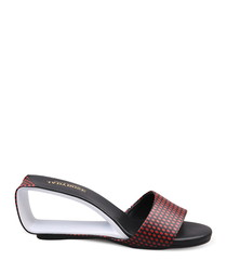 Red & black leather cut-out mules