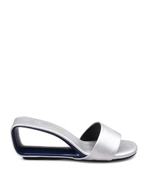 Silver-tone leather cut-out mules