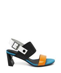Blue leather buckle detail heels