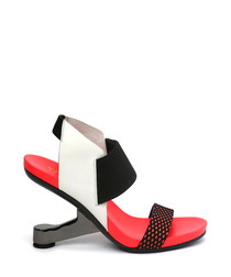 Red & white leather gravity heels