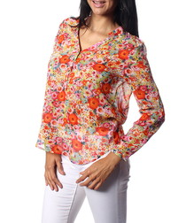 Cindy red pure silk floral blouse