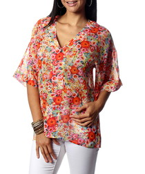 Maya red pure silk floral blouse