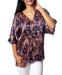 Maya navy pure silk paisley blouse