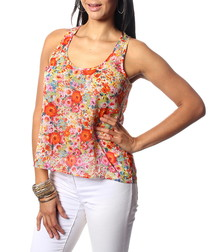 Sonia red pure silk floral tank top