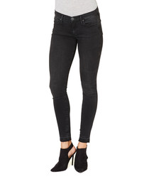 Casey black cotton blend folded jeans