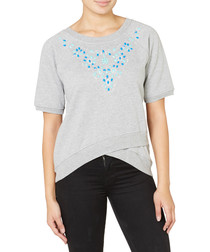 Embroidery grey cotton blend jumper