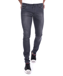 Black cotton blend slim fit jeans