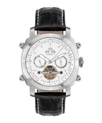 Skyray silver-tone steel & leather watch