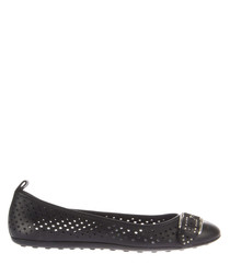 Women's black leather buckled flats
