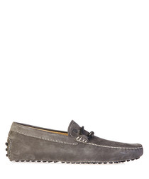 Men's taupe suede laced driving shoes