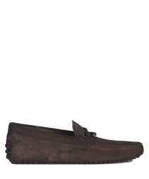 Men's brown leather woven driving shoes