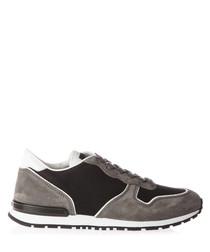 Men's grey leather trim sneakers