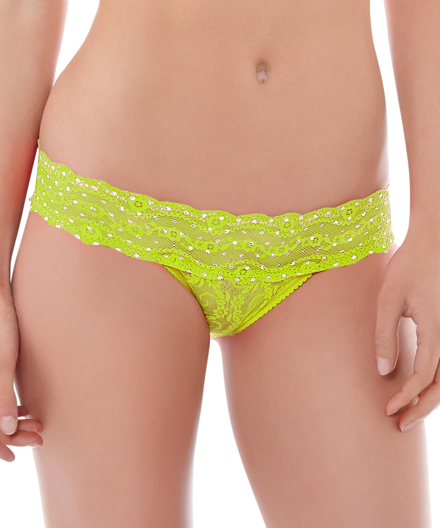 Lace Kiss lime polka Brazilian briefs Sale - b tempted