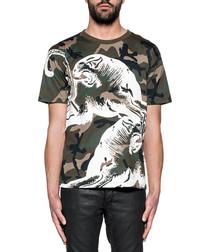 Green & white pure cotton print T-shirt