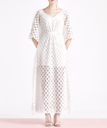 Lilah white embroidered maxi dress