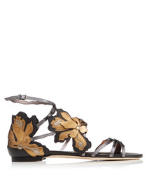 Lolita anthracite leather flat sandals