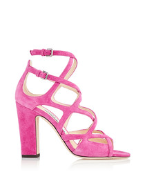 Dillan 100 pink suede strappy sandals