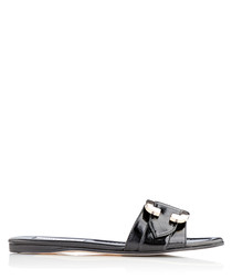 Nessa black leather slip-on sandals