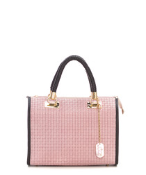 Rose leather weave grab bag