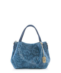 Blue embossed leather grab bag